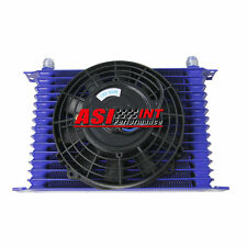 """15 ROW 10AN Universal Racing Engine Transmission Oil Cooler +7"""" Electric Fan Kit"""