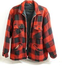 VINTAGE MENS RED PLAID WOOL HUNTING JACKET COAT WOOLRICH ? SIZE XL ZIPPER FRONT