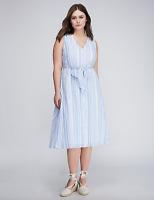 Lane Bryant Tie Front Fit Flare Dress Plus 14 16 20 Blue/White Sleeveless 1x 2x