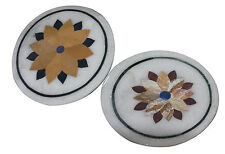 """12"""" Lot of 2 Set Marble Side Coffee Table Top Inlay Floral Outdoor Art Deco H914"""