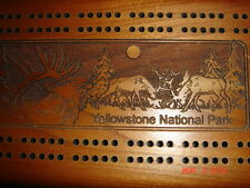 VTG YELLOWSTONE PARK TRAVEL CRIBBAGE BOARD CARD SET & RADICA POCKET GAME LOT
