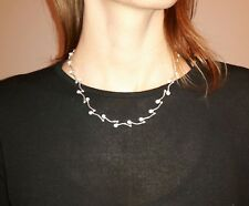 Collier, Kette, Piercing, Marmor Howlith, Weiß, Silber 925, Necklace, Top