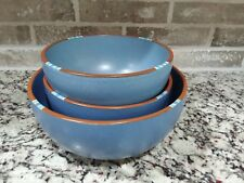 "3 DANSK MESA SKY BLUE LARGE BOWL Serving Set 10 1/4"" 8 1/2"" 8 1/4"" Stoneware"