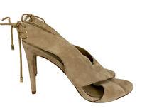 Ann Taylor Tan Brown Suede Peep Toe Strappy Heels Pumps Women's Size 8 Shoes