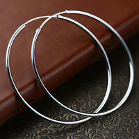 "Unique & Elegant Pure 925 Sterling Silver Big Round Hoop 2"" Earrings"