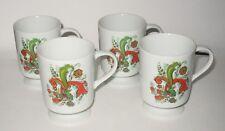 Vintage Set of 4 Berggren Rosemaling Mugs Coffee Cups Pedestal