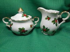 Lefton Cream Pitcher and Sugar Bowl with Lid  #7949  Holly Berries