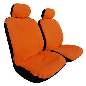 Neoprene 2pcs Universal Size Car Seat Covers Orange For Toyota Hilux SR SR5 Dual