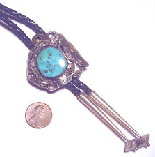 Museum Quality TURQUOISE Sterling 925 NAVAJO Terrence Hunt SUN BOY BOLO TIE
