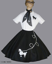 """7 PC BLACK 50's POODLE SKIRT OUTFIT ADULT SIZE LARGE WAIST 35""""-42"""" LENGTH 25"""""""
