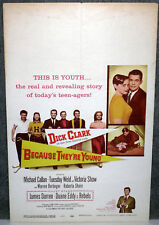 BECAUSE THEY'RE YOUNG orig 1960 movie poster DICK CLARK/TUESDAY WELD/DUANE EDDY