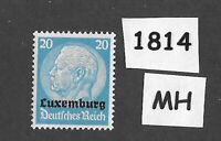 1940 Stamp / MH PF20 / Luxembourg Overprint Hindenburg  / German Occupation WWII
