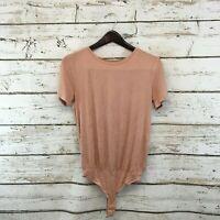 Elodie NEW Pink Crewneck Short Sleeve Women Medium M Knit Top Bodysuit $40