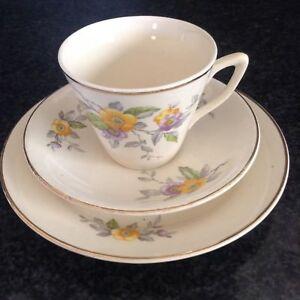 Art Deco China Cup And Saucer Trio - Winterton Longton England