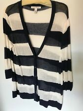 Autumn Cashmere Blue/Ivory Stripe Cardigan - Size XL