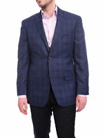 Mens 42L Michael Kors Modern Fit Blue Plaid Two Button Blazer Sportcoat