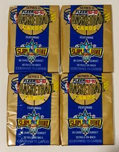 1992-93 Fleer NBA Basketball Series 2 15-Card Retail Pack x 4 Brand New Sealed