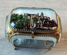 Nürnberg Schmuckschatulle um 1900 Uhrenbox Glas Messing Facetten