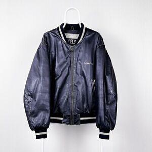 Vintage Nickelson Genuine Leather Varsity Jacket Black Large