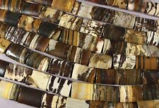 "COCONUT JASPER PETRIFIED WOOD 25x18 RECTANGLE PILLOW BEADS  16"" STR HEMATITE"