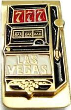 Vintage Money Clip Las Vegas Slot Machine Gold Tone Cash Holder Wallet Card Id