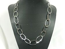 "SILPADA N1667 RETIRED HAMMERED STERLING SILVER BOLD OVAL LINK 19"" NECKLACE"