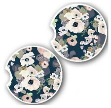 Blush and Navy Floral Car Coasters - Sandstone - Beautiful Design - Pink Print