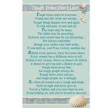 WALLET CARD TOUGH TIMES DON'T LAST Keepsake Sentimental Message Verse Gift Purse