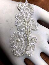 "APPLIQUE BEADED WHITE Flowers 2x4"" Bridal SWIRLS Pearls 1 piece hand sewn"