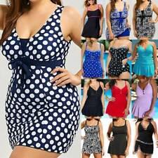 Women Tummy Control Swimdress Push Up Strappy Bathing Suit Beachwear Plus Size