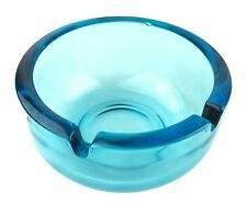 Vintage 1.75� Tall Clear Light Blue Green Round 2 Cigarette Rests Glass Ashtray