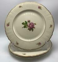 """Victoria (Federal Shape) by Syracuse 3 Dinner Plates 10-1/2"""" Roses Gold Trim USA"""
