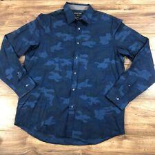 Michael Kors Blue Button Down Camo Shirt XL