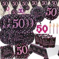 AGE 50 Happy 50th Birthday BLACK & PINK Sparkle Party Range Banners Decorations