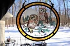 """Vintage Glassmasters Saw Whet Owls Stained Glass Window Suncatcher, 8.25"""" x 9"""""""