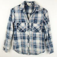Anthropologie Cloth & Stone Womens Size XS Top Plaid Blue Button Up Shirt Blouse