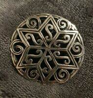 Vintage Celtic Brooch Scottish style star ornate open work round circle shield