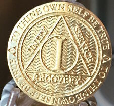 1 Year AA Medallion Reflex Bronze Sobriety Chip Alcoholics Anonymous Coin