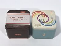 Lot of Two Fossil Watch Graphic Empty Tin Boxes Vintage Collectible Boxes 2012