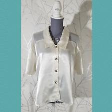 Victoria's Secret Vintage Gold Label White Satin Button Front Blouse | Women's S