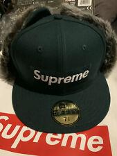 Supreme Fur Earflap New Era Green Size 7 3/8 Brand New FW19 Hat Cap Box Logo