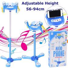 Blue Kids Karaoke Machine 2 Mic Adjust Stand Music Play Toy Set Xmas Gift Girls