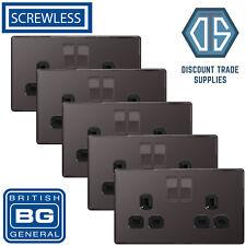 5x BG Screwless Double Socket Black Nickel Black Inserts FBN22B 13Amp Flat plate