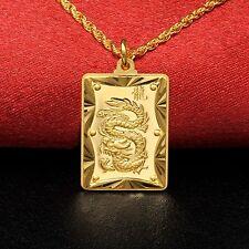 Pure 999 24k Yellow Gold Pendant / Fashion Dragon  Square Card Pendant / 3.5-4g