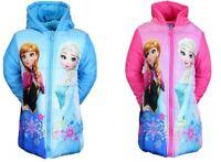Girls Disney Frozen Jacket Coat Anna Elsa Padded Hooded Nickelodeon Fleece New