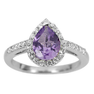 925 Sterling Silver White Gold Plated Ring with Natural Gemstone Amethyst Size 8