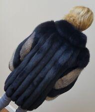 Vintage Luxurious Black & Silver Fox Fur 3/4 Coat Hardly Worn Length 34 in. Sz 8