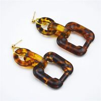 Acrylic Resin Large Statement Geo Marbled Leopard Print 3 Layer Earrings XMAS