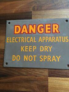 """Original Vintage enamel Sign """"Danger Electrical App ....."""
