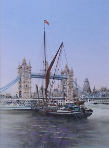 Framed & Glazed BEN MANCHIPP Watercolour, Thames Barge & Tower Bridge, 2008